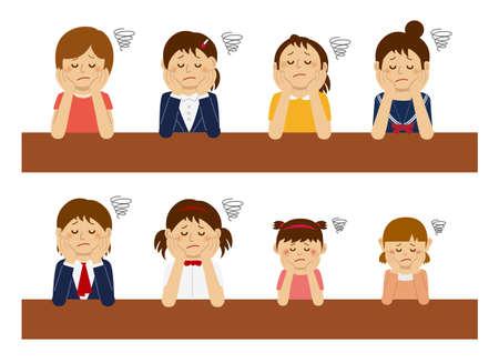 Set of troubled women illustration.