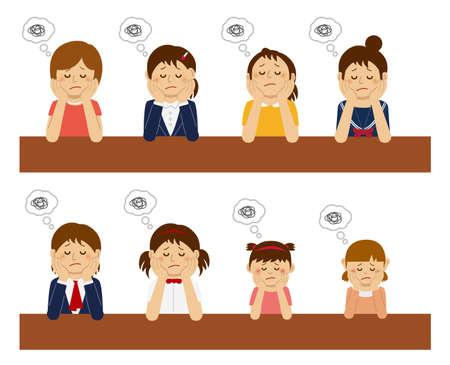 Set of troubled women illustration. Vector Illustration
