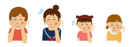 Illustration femmes souffrant de maux de dents à différents âges.