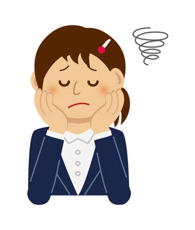 Illustration of thinking or troubled female office worker