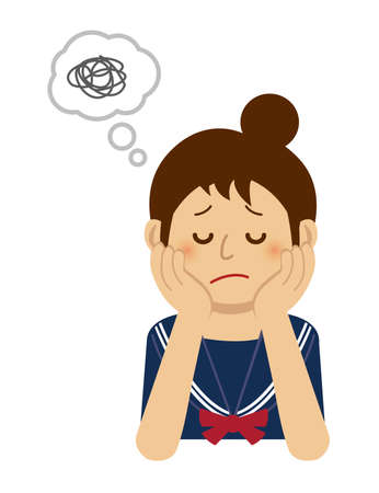 thining/troubled/suffering teen woman illustration