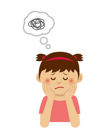 Illustration of thinking or troubled girl.