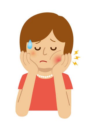 Woman with toothache illustration.