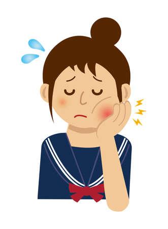 Teen woman with toothache illustration. Illustration