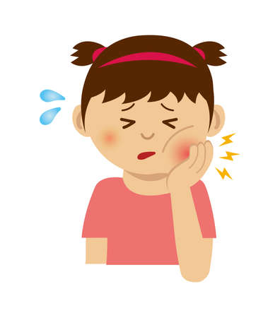 Girl with toothache illustration.