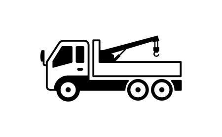 クレーン トラックのイラスト。