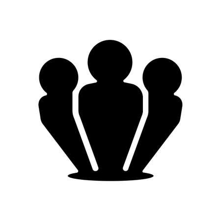 白黒のイラストで組織チームアイコン。