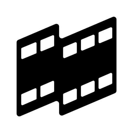 白黒のイラストのムービーフィルムビデオメディアアイコン。  イラスト・ベクター素材