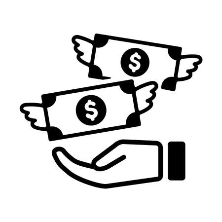Spending money, wasting money, flying money icon in black and white illustration.