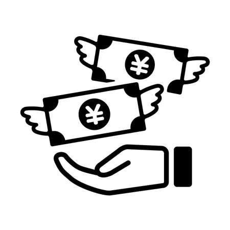 Gastar dinheiro, desperdiçando dinheiro, voando dinheiro com ienes moeda símbolo ícone na ilustração preto e branco.