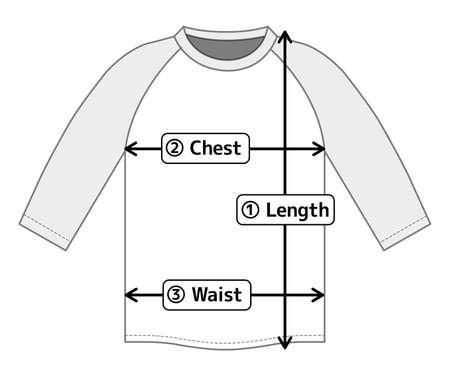 ragran shirt illustration for size chart