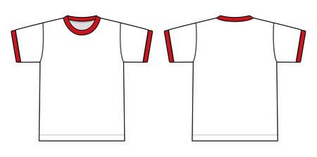 Ringer tshirts illustration (white x red).