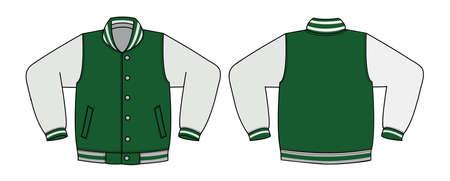 Illustration of varsity jacket (green) 일러스트