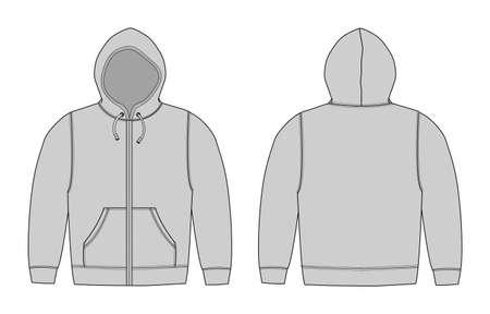 Illustration of hoodie (hooded sweatshirt), zip up parka / gray Ilustracja