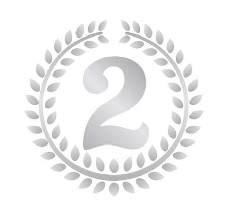 リースフレームランキングイラスト。2位(銀)。  イラスト・ベクター素材