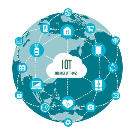 IoT (internet of things) image illustration / earth (blue) Stock Illustratie