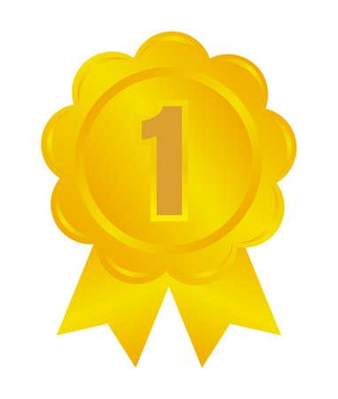 Ranking medal icon illustration. 1st place (gold). Illustration