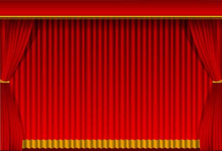 ●赤いカーテン背景イラスト(縦)