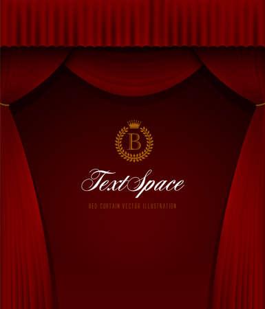 赤いカーテンの背景のイルトレーション(肖像画)  イラスト・ベクター素材