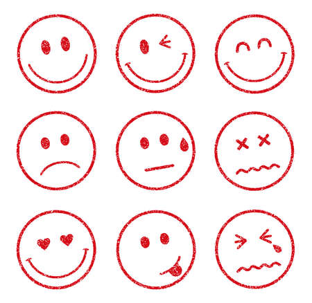 emoticons smiley face stamp icon set (smile, cheerful, sad, heart, wink, crying, etc.) 版權商用圖片 - 94156216