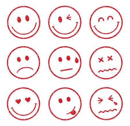 emoticons smiley gezicht stempel icon set (smile, vrolijk, verdrietig, hart, knipoog, huilen, etc.) Stock Illustratie
