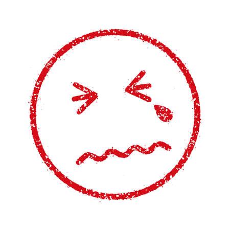 Sad, crying)emoticonsface stamp icon illustration. Illustration