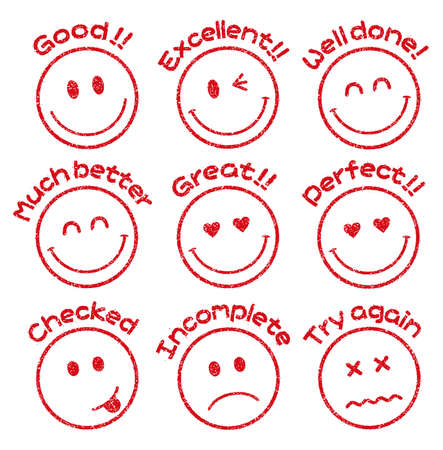 Emoticonsface stamp icon set for educational use etc. (Good!, Excellent, Incomplete, Checked, etc.)