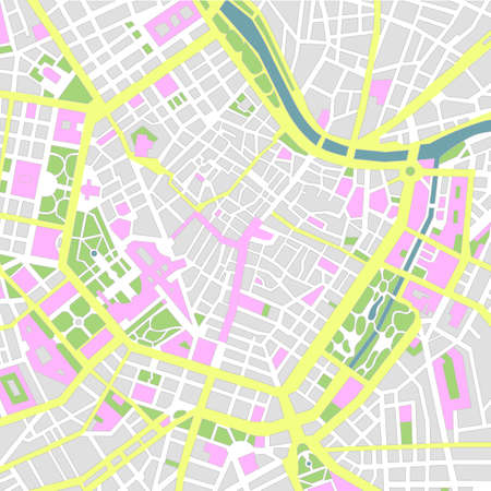 Central Vienna (wien) city map illustration (No text).