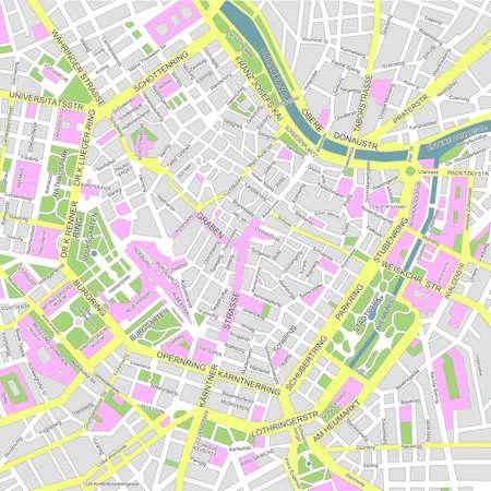 Illustratie van de stadsplattegrond van centraal Wenen (wien). Vector Illustratie