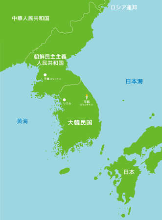 PyeongchangSouth korea and far east countries map Illustration