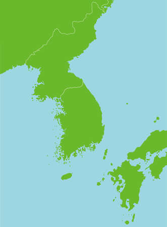 Korean peninsula and far east countries map blank map  no text