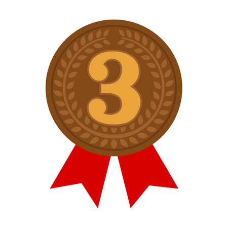 Ilustración del icono de medalla de clasificación. 3er lugar (bronce) Ilustración de vector