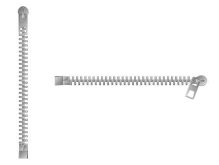 Zipper/fastener in vertical and horizontal  position, vector illustration set