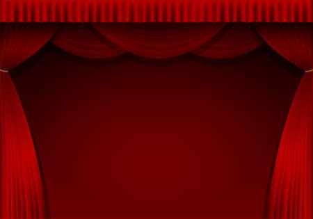 赤いカーテンの背景イラスト(縦)