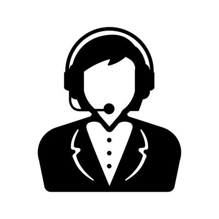 Business woman with headset. supporthelp center operator icon