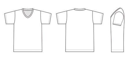 Ilustración de camiseta con cuello en V (blanco) Ilustración de vector
