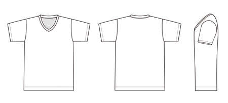 V neck t-shirt illustration (white)