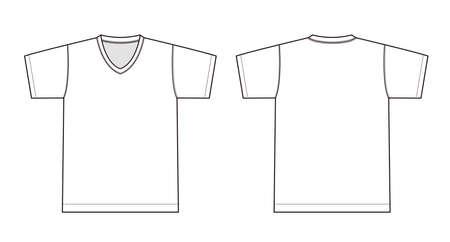 V neck t-shirt illustration (white) Vectores