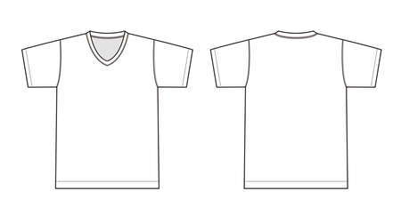 V neck t-shirt illustration (white) Illustration
