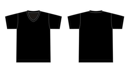 V neck t-shirt illustration (black)
