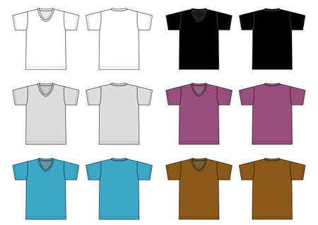 V neck t-shirt illustration set (color variations) Illusztráció