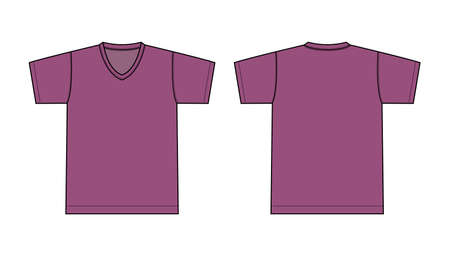 V neck t-shirt illustration (purple)