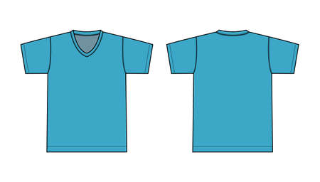 V neck t-shirt illustration (turquise blue)