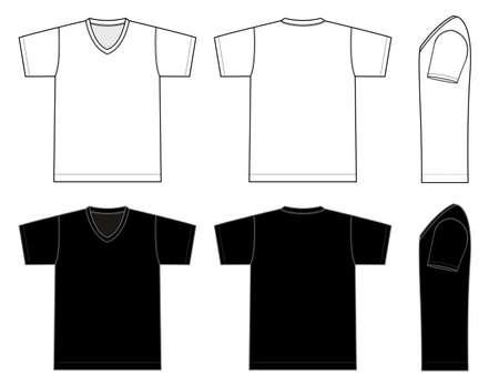 Plantilla de camiseta con cuello en V Ilustración vectorial en blanco y negro.