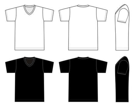 V neck t-shirt template Vector illustration in black and white. Иллюстрация