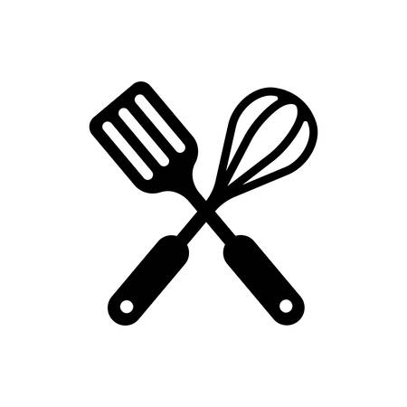 kitchen utensils icon (spatula and whisk) crossed