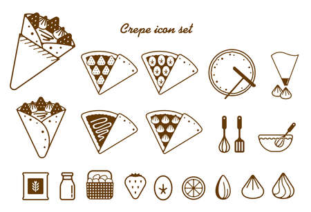 Crepe illustration icon set Vectores