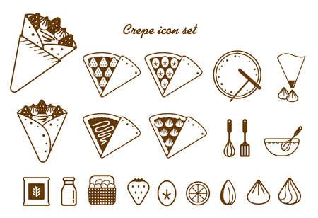 Zestaw ikon ilustracji krepy