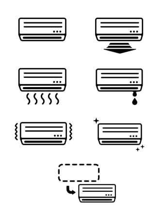 AC (air conditioner) icon set Vector Illustration