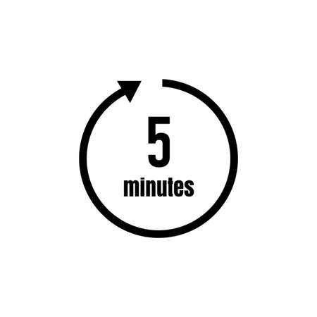 Ikona zegara, timera (upływ czasu) / 5 minut Ilustracje wektorowe